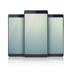 Trio set of realistic smartphones collection vector