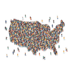 usa map made many people large crowd shape vector image