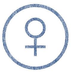 Venus female symbol rounded fabric textured icon vector
