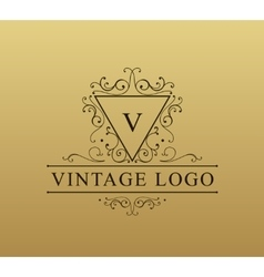 Vintage logo with swirls Flourishes vector