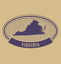 Virginia map silhouette - oval stamp vector