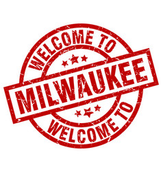 Welcome to milwaukee red stamp vector