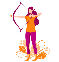 Woman shoots from the bow archer vector