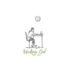 Working girl freelance laptop home vector