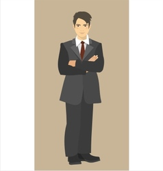 young businessman with arms crossed on his chest vector image