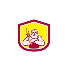 Zeus Greek God Arms Cross Thunderbollt Retro vector