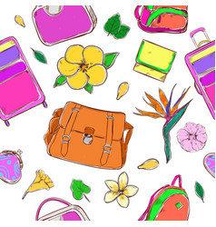Colored exotic country journey pattern vector