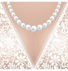 Decolette of white lace bridal dress vector image vector image