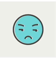 Unhappy face thin line icon vector image