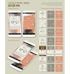 Calendar and Weather Mobile App Widgets UI Designs vector image vector image