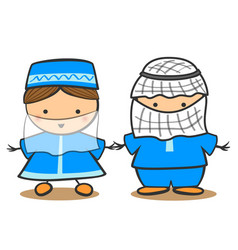 happy muslim kid in tradidtional costume vector image vector image