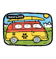 Hippie traveling bus with surfing board luggage vector
