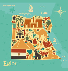 map of egypt with traditional symbols vector image
