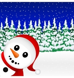 Snowman in the forest holiday vector image vector image