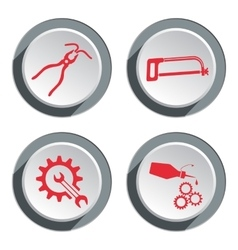 Tools icons set Saw tongs cogwheel wrench key vector image vector image