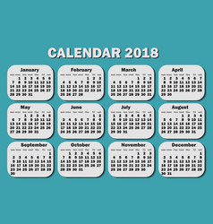 calendar 2018 year week starts from monday vector image