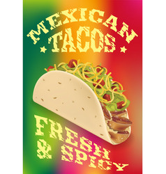 mexican tacos realistic poster design vector image