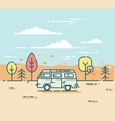 minivan and in the autumnal forest vector image
