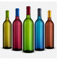 realistic transparent glass wine bottles isolated vector image vector image