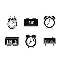 alarm clock icon set simple style vector image vector image