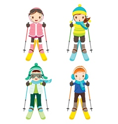 Boy And Girl In Skiing Clothing Set vector image