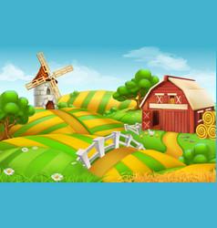 farm field landscape 3d background vector image vector image