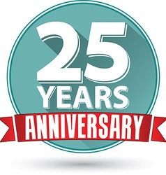 Flat design 25 years anniversary label with red vector image