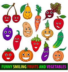 funny smiling fruits and vegetables set flat vector image