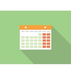 isolated calendar with green background and long vector image vector image