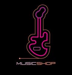 neon music shop vector image vector image