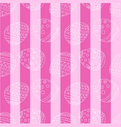 pink seamless pattern with easter eggs and stripes vector image vector image