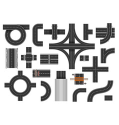 street road elements vector image vector image