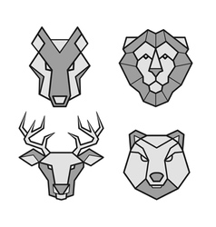 Wild animals geometric head icons set vector image vector image