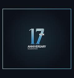 17 years anniversary logotype with cross hatch vector