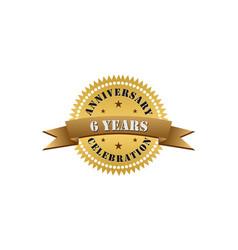 6 years anniversary celebration gold logo vector
