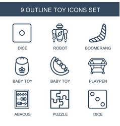 9 toy icons vector