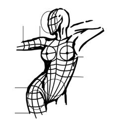 Aestetic surgery female body art vector