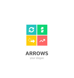 arrows icons flat style logo design with cursor vector image