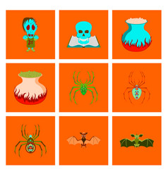 assembly flat halloween monster vector image