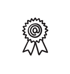 award with at sign sketch icon vector image