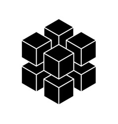 black geometric cube of 8 smaller isometric cubes vector image
