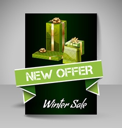 Brochure design template with green christmas vector