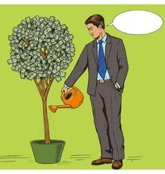 Businessman water money tree pop art style vector