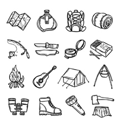 Camping Black White Icons Set vector image