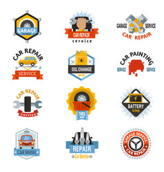 Car repair service logo auto badge emblems vector