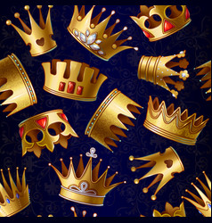 cartoon gold royal crowns pattern vector image