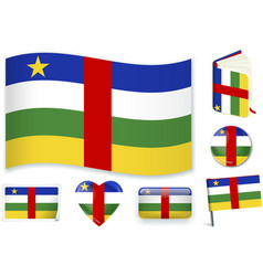 central african republic flag in seven shapes vector image