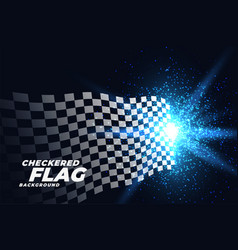 checkered racing flag with blue lights particles vector image