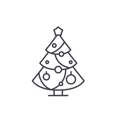 christmas decoration tree line icon concept vector image