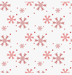 christmas seamless pattern of snowflakes red on vector image